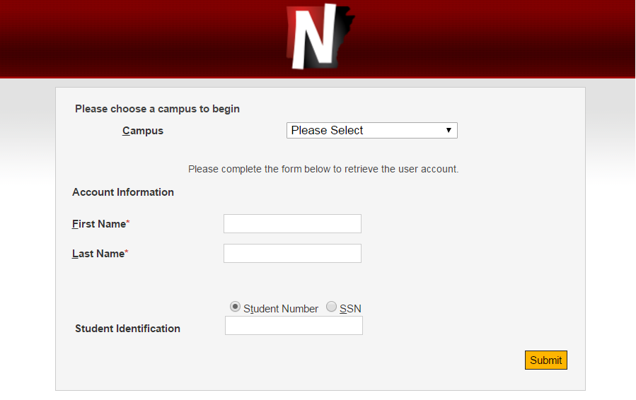 ASUN Reset password page example picture
