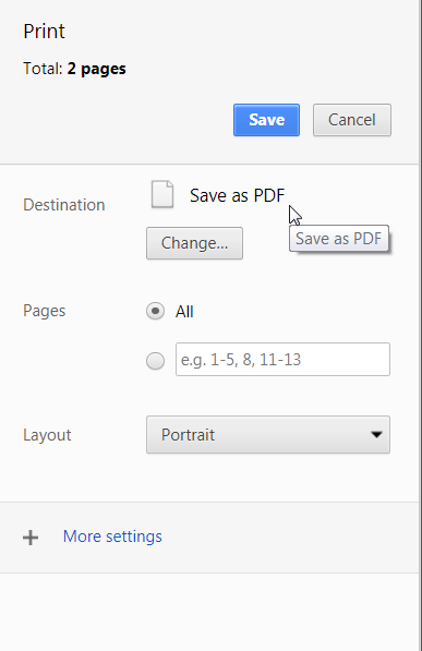 Google Chrome Confirm Print Settings